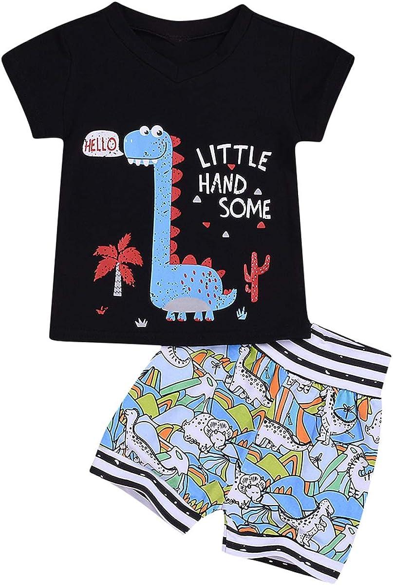 Yolispa Kids Outfits Boys Dinosaur Print Short Sleeve Cartoon T Shirt Summer Outfits 2Pcs