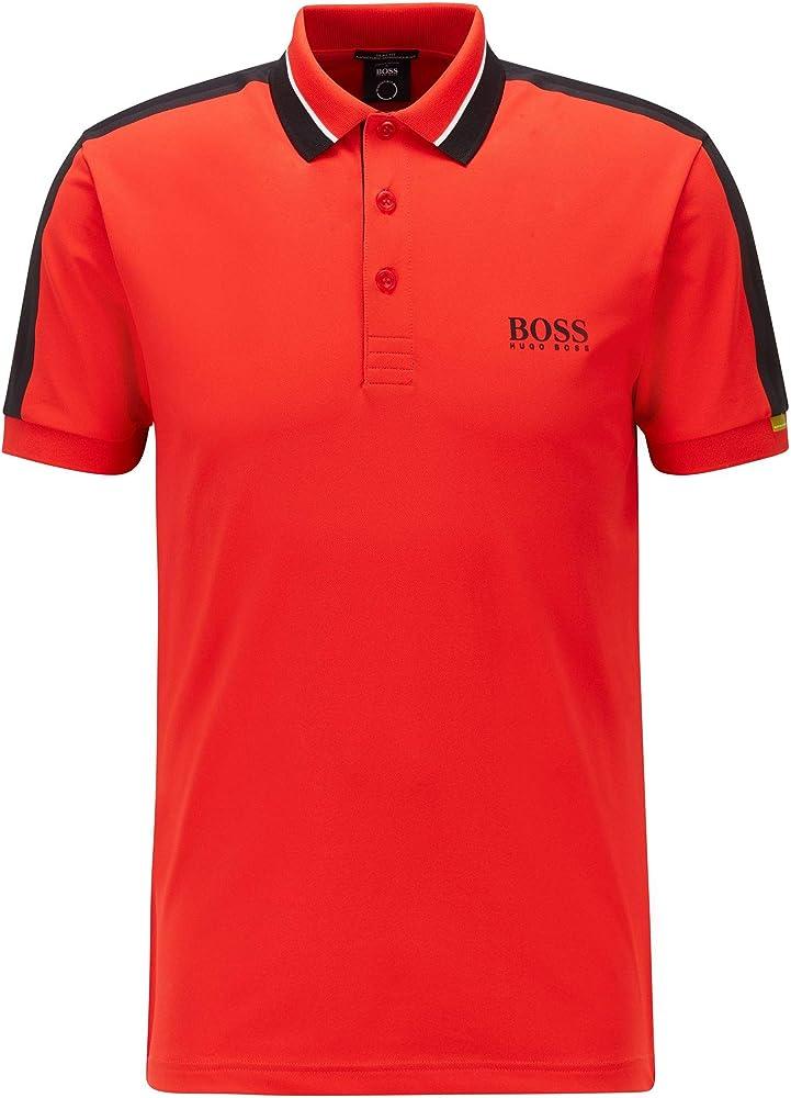 Boss polo , maglietta a maniche corte per uomo , 92% poliestere riciclato / 8% elastan 50448546C