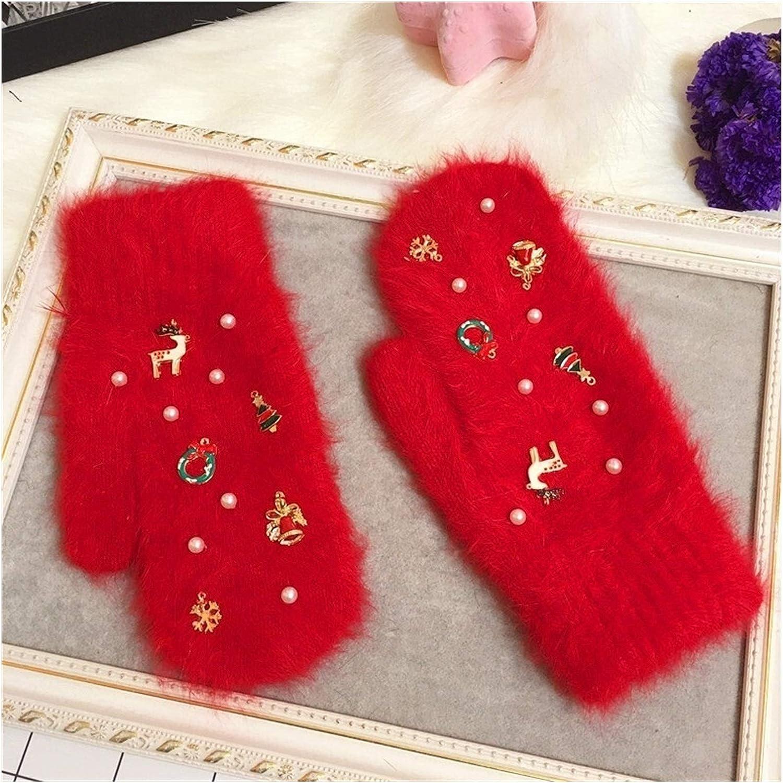 JBIVWW Merry Women Winter Gloves Fashion Ornaments Knit Gloves Gloves Color Gloves Female (Color : Red, Gloves Size : Free Size)