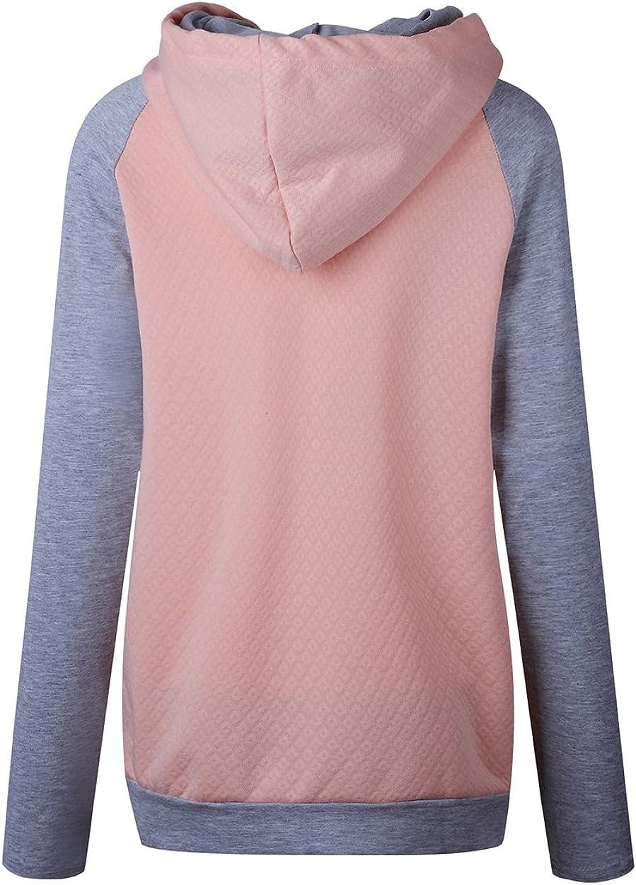 Yieune Damen Kapuzenpullover Rollkragen Pulli Pullover Sport Kapuzenpulli Sweatshirt Kontrastfarbe Hoodies A-rosa