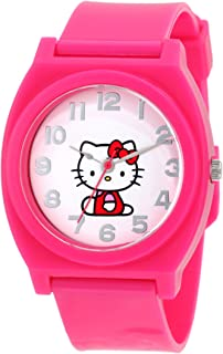 Hello Kitty Womens H3WL1017PINK Pink Plastic Case Rubber Strap Full Body Center Watch