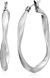 Twist Hoop Earrings, Silver, One Size