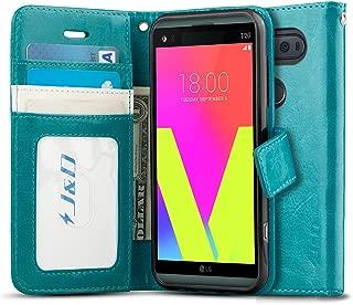 J&D Case Compatible for LG V20 Case, [Wallet Stand] [Slim Fit] Heavy Duty Protective Shock Resistant Flip Cover Wallet Case for LG V20 Wallet Case - Aqua