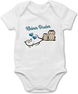 Shirtracer Geschwisterliebe Baby - Kleiner Bruder süße Eulen - Baby Body Kurzarm für Jungen und Mädchen