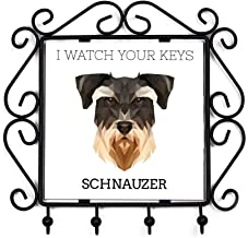 Schnauzer, Keys Hanger with an Image of a Dog, Geometric Collection