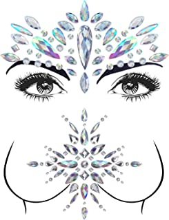 2 Sets Mermaid Face Gems Rhinestone Tattoo Festival Jewels Face Chest Forehead Body Temporary Tattoos Glitter Crystal Tattoos Bindi Breast Chest Body Rhinestone Stickers