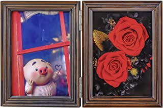 Neatylife Immortal Flower Photo Frame,Preserved Flower Rose Picture Frame, Never Withered Roses and Eternal Flower for Valentine's Day, Mother's Day, Women, Anniversary, Birthday (Nut-Brown, 5 Inch)
