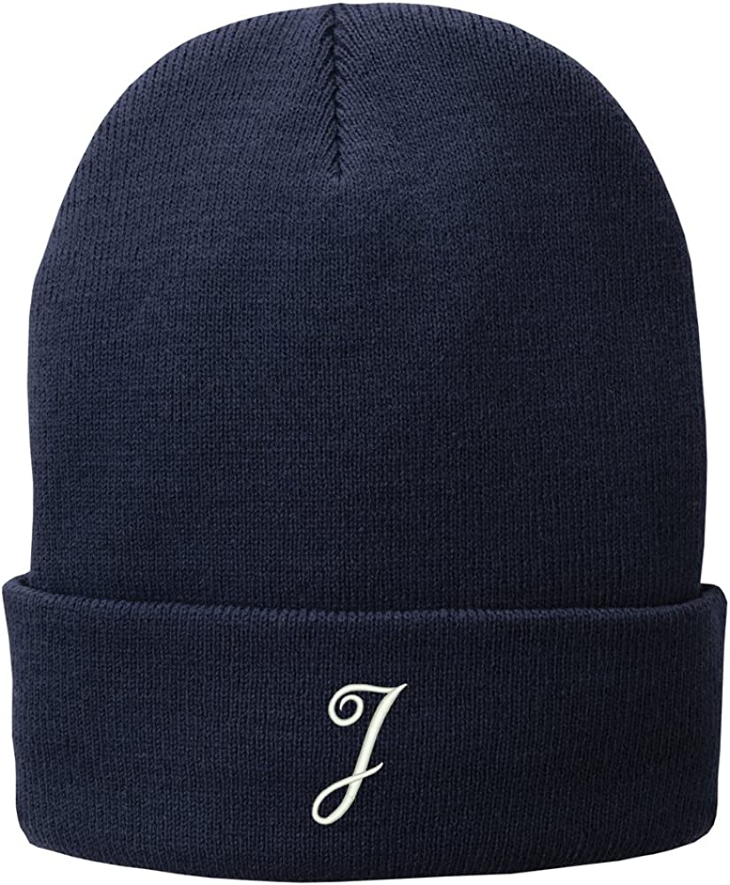 Trendy Apparel Shop Letter J Embroidered Winter Knitted Long Beanie