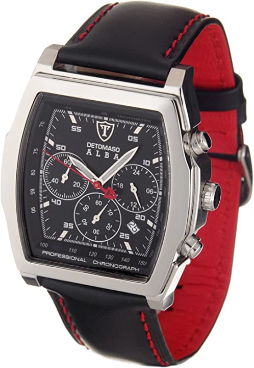 Detomaso classic herren-armbanduhr alba chronograph silber/schwarz DT1011-A