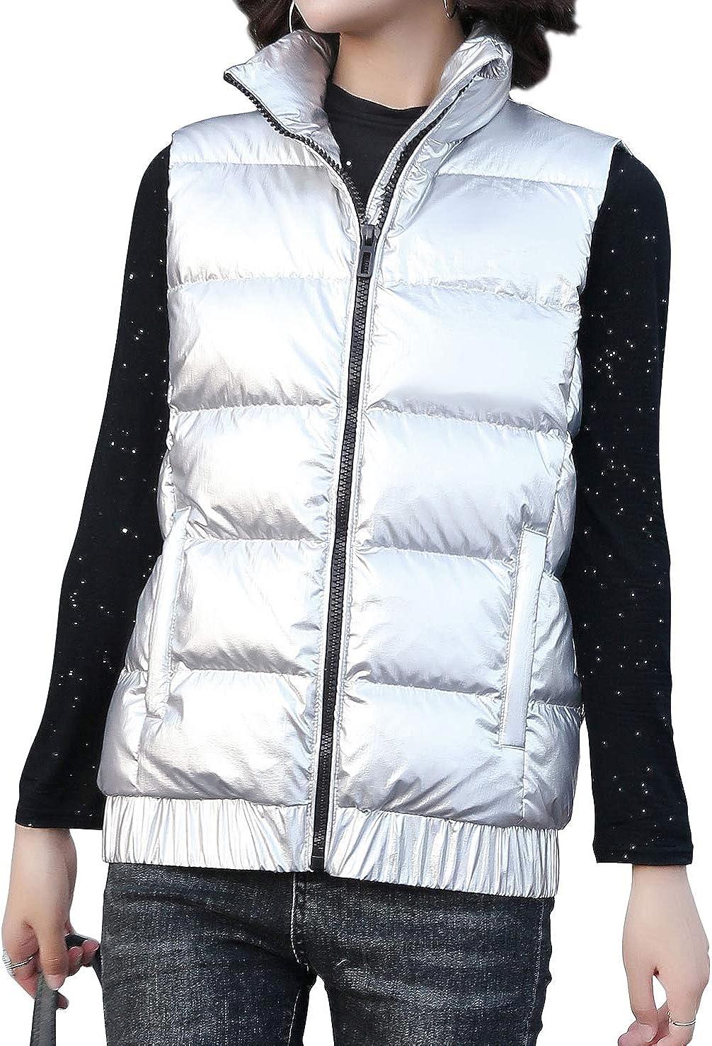 chouyatou Sale price Women's Virginia Beach Mall Stand Collar Full Metallic Pack Waterproof Zip