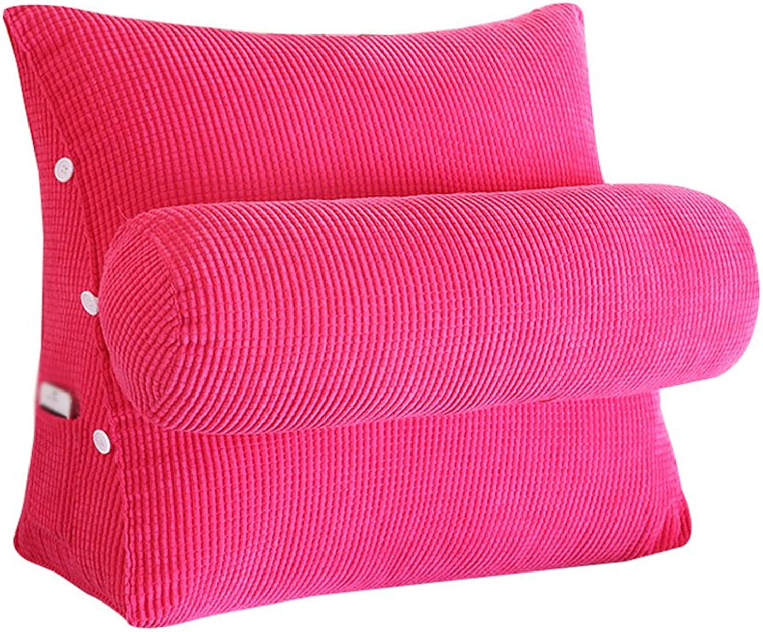 DDSS Bed cushion Corduroy Bed Triangle Pillow with Headrest Sofa Bed Headrest Lumbar Pillow Backrest Waist Pads Bay Window Cushion Back Office Pillow  -  (color   Pink, Size   45cm22cm40cm)