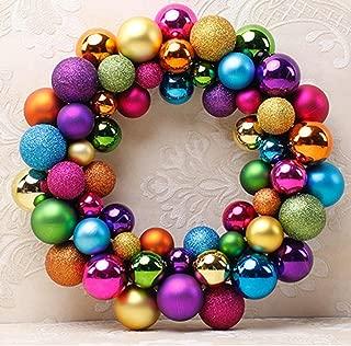 D-XinXin Christmas Balls Wreath,Christmas 55 Balls Wreath Door Wall Ornament Garland Decoration (Multicolor)