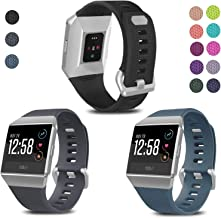 SKYLET Compatible with Fitbit Ionic Bands, 3 Pack Soft Replacement Sport Wristbands Compatible with Fitbit Ionic Smart Watch with Buckle Men Women(Black, Slate, Gray Large)