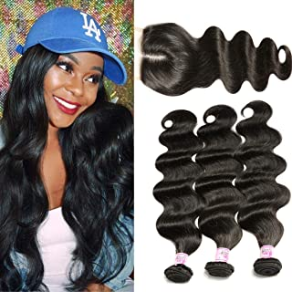 B&F Hair 3 Bundles Brazilian Virgin Hair Body Wave with 1 Piece 44 Middle Part Lace Closure 100% Unprocessed Human Hair Weave Extensions Nature Color (12 14 16 +10closure)