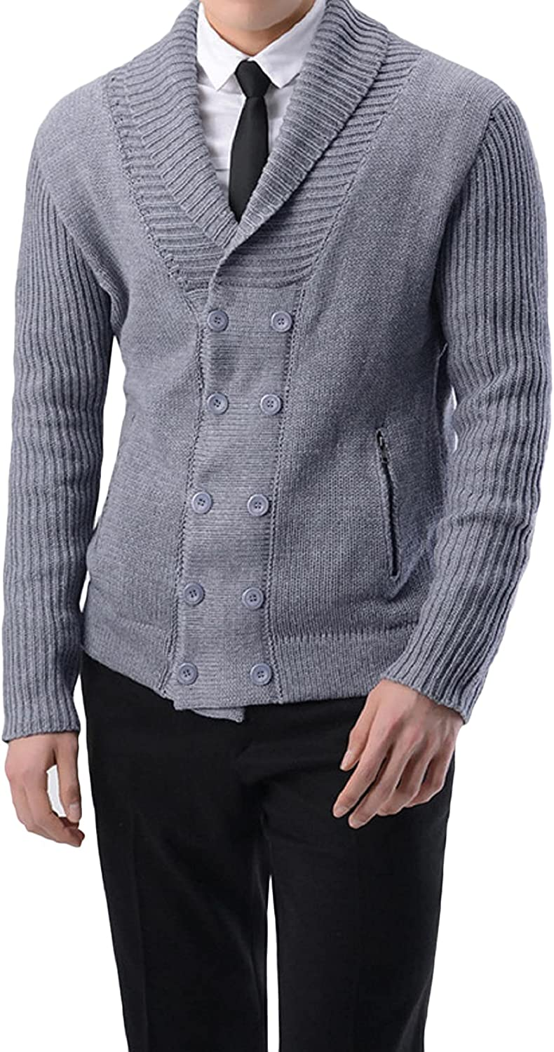 CHARTOU Men's Regular-Fit Shawl Neck Double-Breasted Rib-Knitted Cardigan Sweater Tops