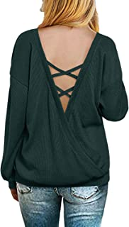 Women's V Neck Criss Cross Backless Long Sleeve Knit Pullover Casual Sweater Loose Jumper Shirt Tops