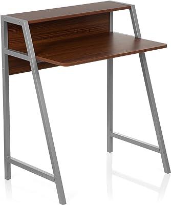 hjh OFFICE Table d'ordinateur/Bureau Informatique Dumont Noyer/Argent