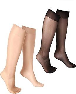 20 Pares de Medias Altos de Rodilla Calcetines de Rodilla Transparentes Medias de Compresión (Negro, Nudo)