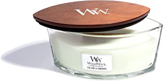 WoodWick Fig Leaf & Tuberose, Highly Scented Candle, Ellipse Glass Jar with Original HearthWick Flame, Large 7 Inches, 16 OZ