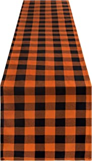 Unves Halloween Buffalo Plaid Table Runner 14x72 Inch, Fall Halloween Table Runner Black and Orange Buffalo Check Table Ru...