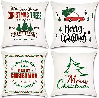 JOJUSIS Christmas Throw Pillow Covers Cotton Linen Home Decor Set of 4 18 x 18 inch
