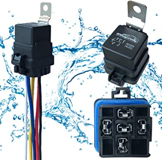 1 PACK 40/30 AMP 12 V DC Waterproof Relay and Harness - Heavy Duty 12 AWG Tinned Copper Wires, 5-PIN SPDT Bosch Style Automotive Relay
