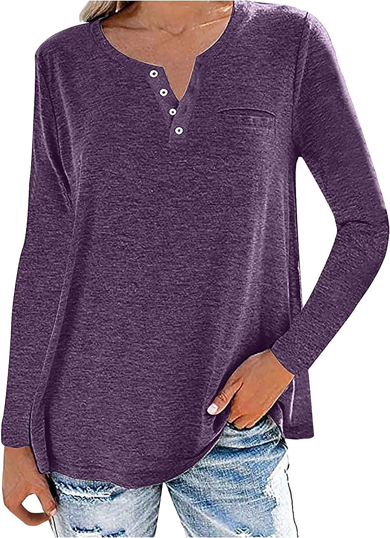 Ranking TOP15 Womens Casual Ranking TOP9 V-Neck Sweatshirt Long Color Sleeve So Shirt Solid