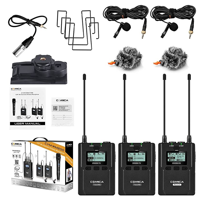 EACHSHOT COMICA CVM-WM200 UHF 96-Channels Metal Wireless Microphone with Dual-transmitters and One Receiver, 120m Smooth Recording Without Staccato for DSLR & Camcorder Video