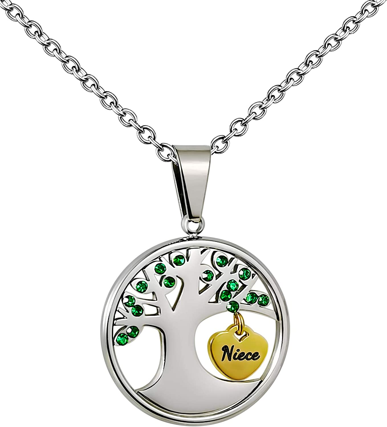 PHOCKSIN Family Tree of Life Necklace Green CZ Paved | Birthday Gifts for Mom Grandma Aunt Niece Sister Nana Family,18