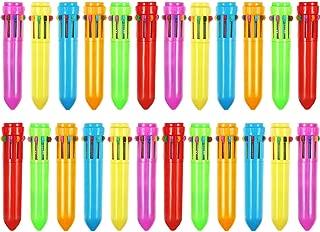Frienda 24 Pieces 10-in-1 Retractable Ballpoint Pens Multicolor Pens Colorful Retractable Mini Shuttle Pens for Office School Supplies Students Children Gift