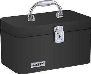 Vaultz Locking Train Case for Cosmetics Storage, Black (VZ03742)