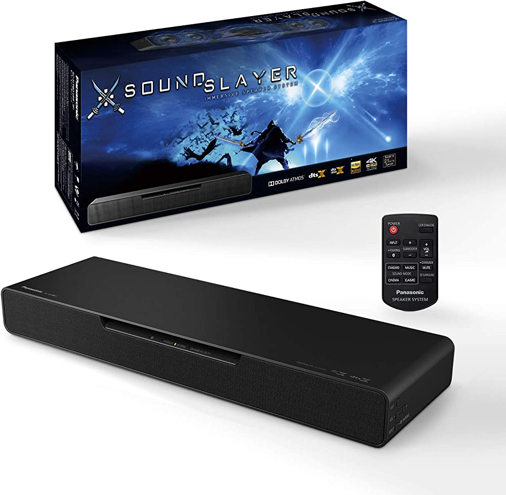 Panasonic, sc-htb01eg gaming speaker, subwoofer integrato soundslayer, 80w, surround 2.1 ch
