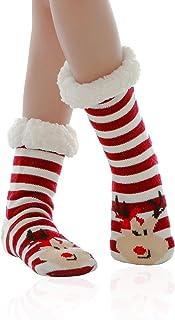 ZOYLINK Polsini per Stivali di Natale Scaldamuscoli in Pile a Maglia Corta Stivali Topper per Donna