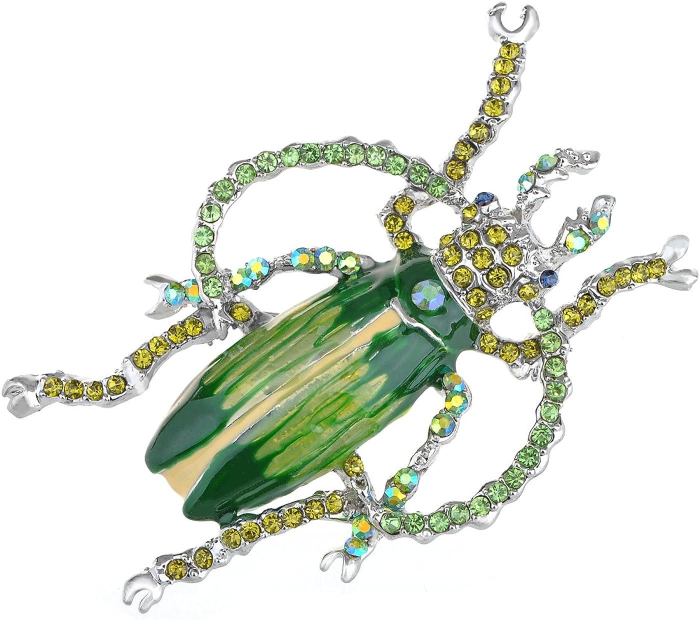 Alilang Handpainted Enamel Peridot Green Color Crystal Rhinestone Beetle Insect Bug Lapel Pin Brooch