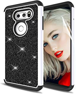LG V30 Case Glitter, LG V30 Plus V30+ Phone Case with Screen Protector,Dual Layer Soft Silicon TPU Hard Shell Heavy Duty Hybrid Shock Absorption Protective Cases Cover for LG V30 V30+ Black