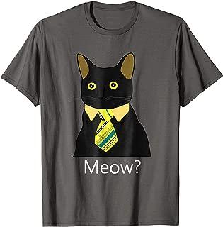 Black Business Cat Kitten with Yellow Tie T-shirt Tee Tshirt