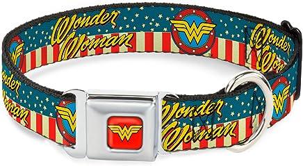 "Buckle-Down 9-15"" WONDER WOMAN/Logo Americana Red/White/Blue/Yellow Dog Collar, Small"