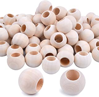 "Jdesun 100 Pieces Wooden Beads, Natural Round Wood Loose Beads Wood Spacer 20mm x Diameter 3/8"" Hole"