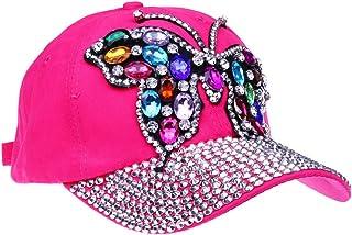 ba020410630 CRUOXIBB Butterfly Baseball Cap Women Crystal Rhinestone Snapback Caps  Distressed Denim Jeans Hat