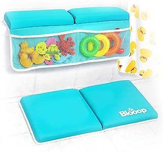 Bath Kneeler with Elbow Rest Pad Set (2-Piece), X-Long, Thick, Knee Cushioned Bathtub Support, Non-Slip Bottom, 4 Caddy Pockets, Blooop Bath Kneeling Pad