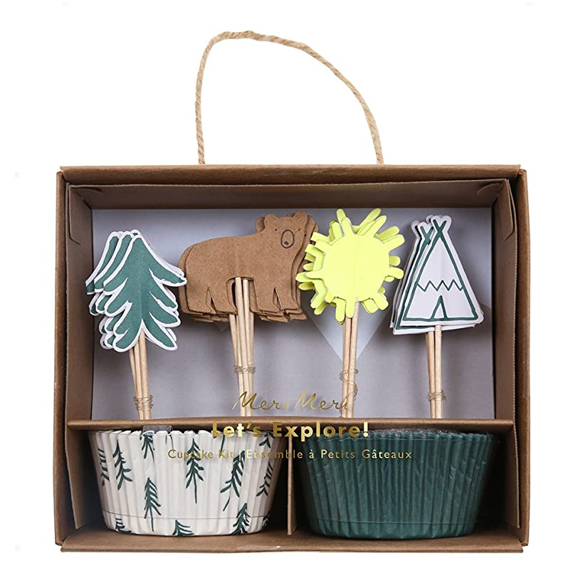 Meri Meri, Let's Explore Cupcake Kit, Birthday, Party Supplies, Cake Toppers and Paper Cups