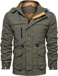 Men's Winter Windproof Military Jacket Hooded Fleeced Lined Cotton Outwear Coat