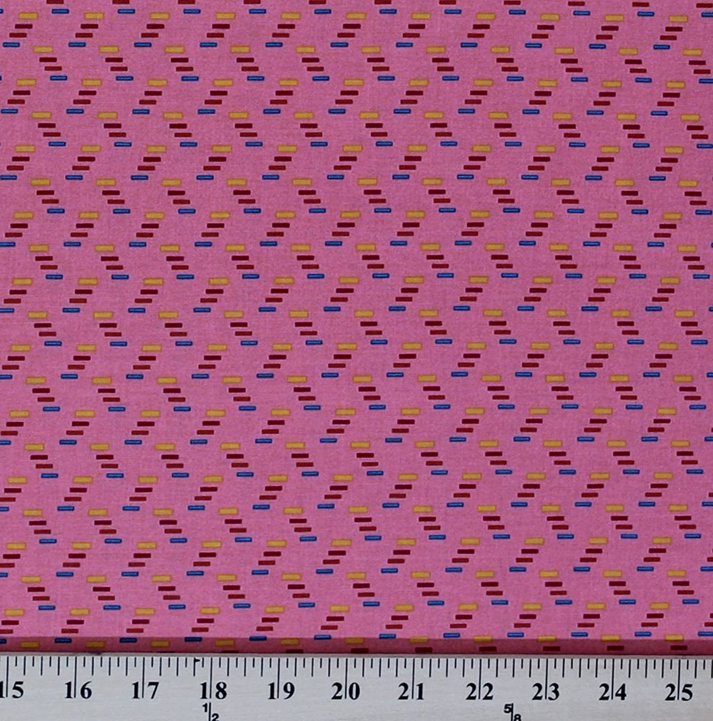 Cotton Anna Maria Horner Dowry Cracking Codes Zig Zag Petal Pink Cotton Fabric Print by The Yard (PWAH064.Petal)
