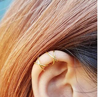Sterling 925 Silver 4pcs No Piercing Earcuff (2 pcs double line ,2 pcs Criss Cross )simple Gold Plated fake helix ear cuff cartilage Earring