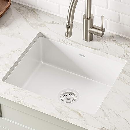 Kraus KE1US21GWH Pintura 21-inch Undermount Porcelain Enameled Steel Single Bowl Kitchen Sink, White Square
