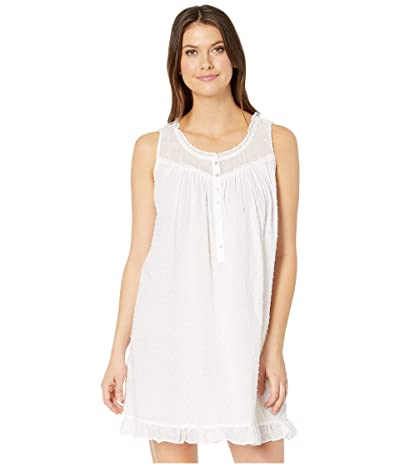 Eileen West Cotton Swiss Dot Woven Sleeveless Short Chemise (White) Women