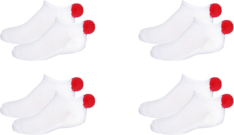 NEW 4 Pair Pom Pom Socks Girls Fits Kids Shoe Size: 9-3 Youth Lowcut Ped Socks Pom-Pom Athletic Socks