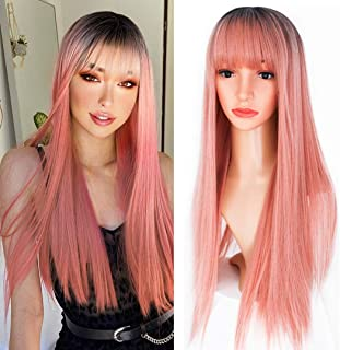 EVLYNN Pink Straight Wigs With Air Bangs Dark Rooted Ombre Pink Hair Heat Resistant Synthetic Fiber Glueless Wig 26 Inches...