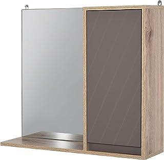 HOMCOM Miroir de Salle de Bain avec étagère et Placard - système Fixation intégré - Panneaux Particules chêne Clair Gris