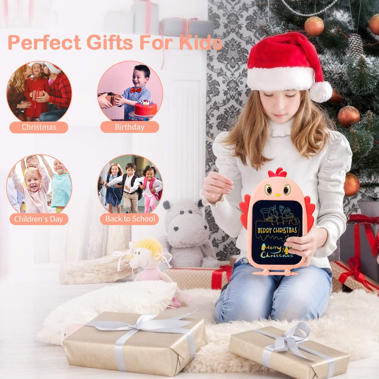 Pink sunvito LCD Writing Drawing Tablet Gifts for Toddlers Kids Girls Boys 8.5 Inch Colorful Digital Doodle Pad Educational Learning Board for 2 3 4 5 6 Years Children for Christmas